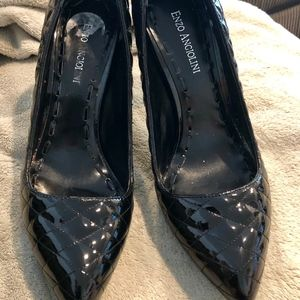 Enzo Angiolini Quilted Black Patent Leather Heels